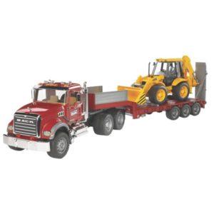 Bruder Mack Granite teherautó mélyrakterű kocsival és JCB kotró rakodóval