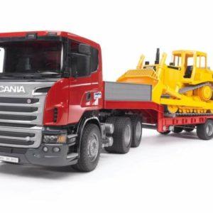 Bruder Scania teherautó trélerrel és buldózerrel