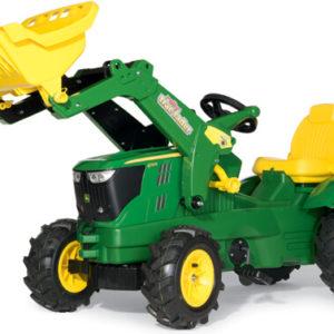 Rolly Toys John Deere 6210 R pedálos traktor homlokrakodóval és légtömlős gumiabroncsokkal