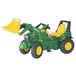 Rolly Toys John Deere 7930 pedálos traktor homlokrakodóval, légtömlős gumiabronccsal és sebességváltóval