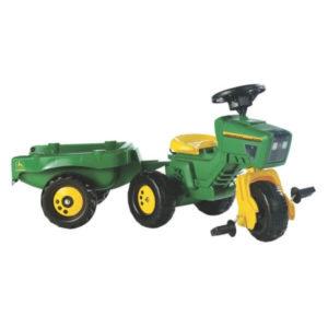 Rolly Toys John Deere háromkerekű pedálos traktor kormánykerékkel és utánfutóval