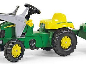 Rolly Toys Rolly Kid John Deere pedálos traktor homlokrakodóval és utánfutóval